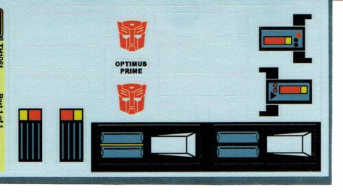 G1 Autobot Optimus Prime Cab Repro Labels Stickers