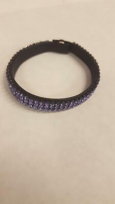 Retired DANIEL SWAROVSKI Purple Crystal LEATHER Bracelet PARIS Narrow 3  Layers | eBay