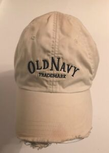 8b0716a3d Details about Distressed Old Navy White Baseball Cap Truckers Hat L-XL Golf  Fishing Sports