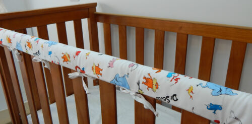 Cot Rail Cover Dr Seuss Characters White Crib Teething Pad  SET OF TWO