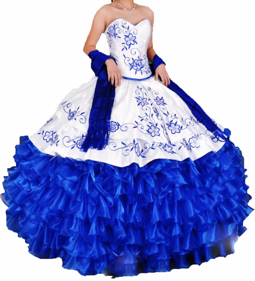 White and Royal bluee 16 Years Quinceanera Dress Ball Gown Embroidery Bridal Gown