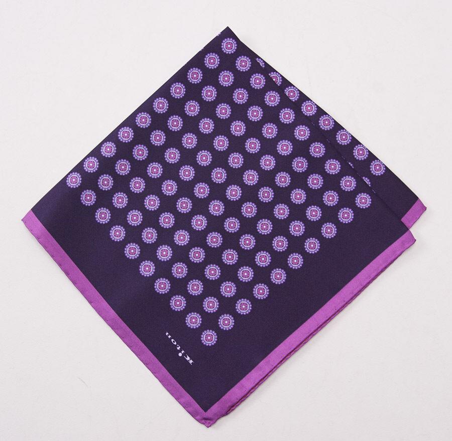 New KITON NAPOLI Plum-Violet Floral Medallion Print Silk Pocket Square