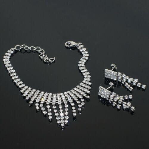 V319 VF Clear Crystal 18K WGP Earrings Bracelet Necklace Set Bridal Party Gift