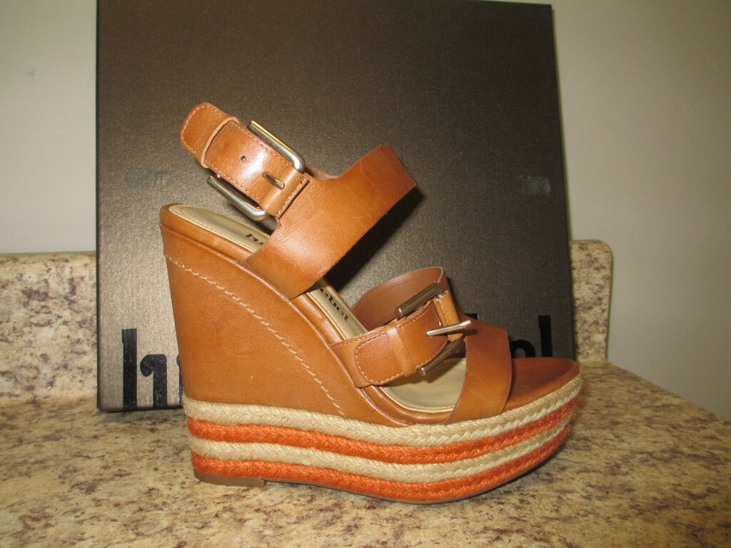 Luxury Rebel  Nelly    Wedge Sandal 36  US 5.5 M Marronee Leather Upper New with Box 969957