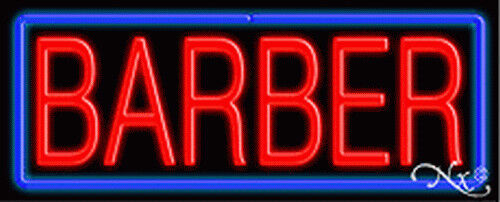 BRAND NEW BARBER 32x13x3 BORDER REAL NEON SIGN w/CUSTOM OPTIONS 10380