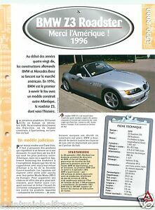 BMW-Z3-Roadster-1-9i-4-Cyl-1996-Germany-USA-Car-Auto-Voiture-FICHE-FRANCE