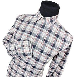 John-Varvatos-Star-USA-White-Red-Plaid-Long-Sleeve-Button-Up-Shirt-Mens-Medium-M