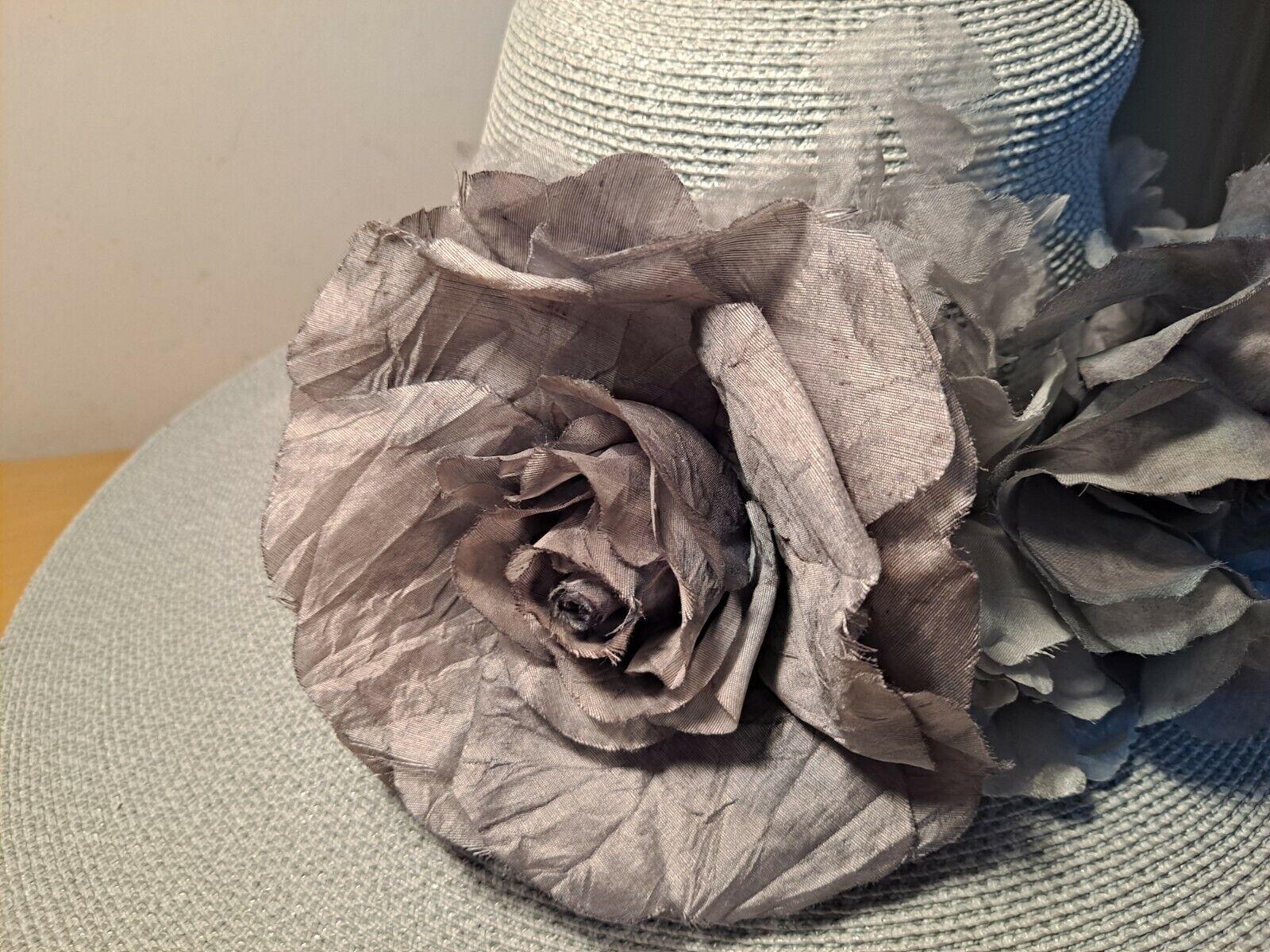 Vtg Patricia Underwood Pale Aqua Straw Hat/Gray S… - image 6