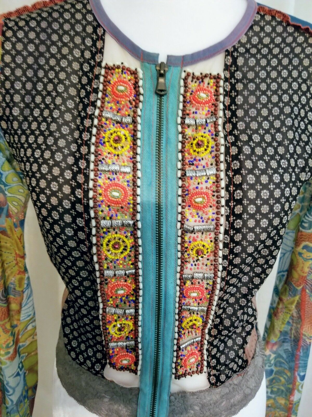 Unique Paris WooXoom Long Sleeve Blouse Small with Beaded art on the front