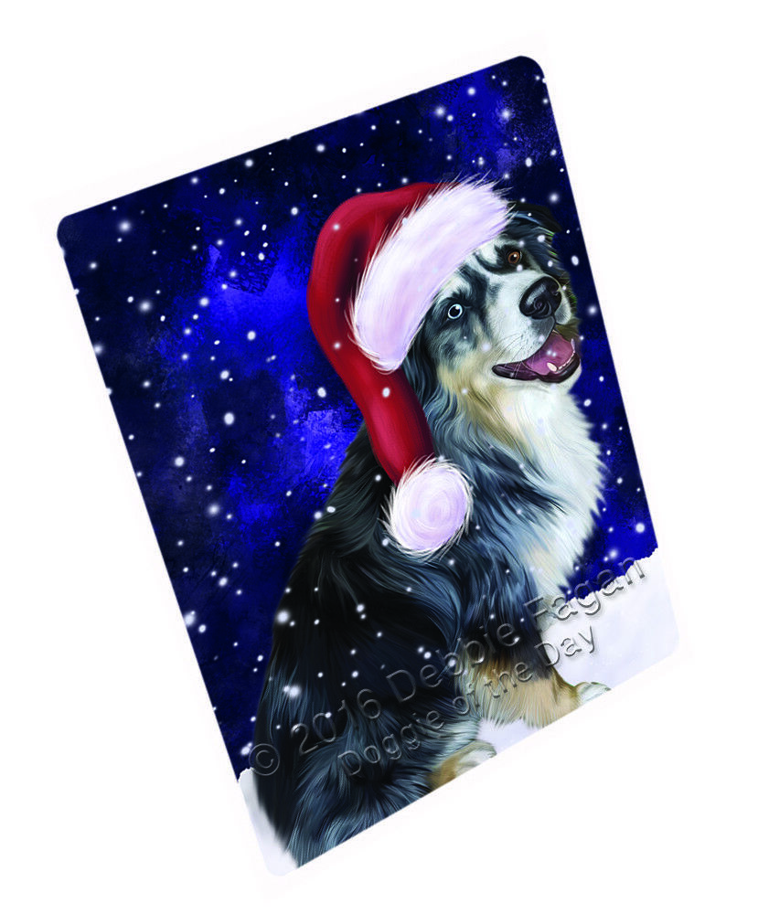 Let it Snow Christmas Australian Shepherd Dog Woven Throw Sherpa Blanket T110