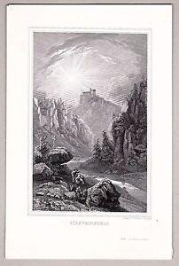 Gößweinstein, Fränkische Schweiz - Stich, Stahlstich von Poppel 1846