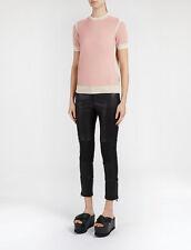 JOSEPH Women's Pink Basic Colorblock Cashmere Tee Top Sweater Size M Medium