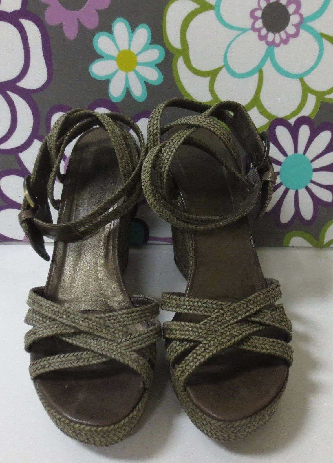 STUART WEITZMAN Green Woven Platform Sandals shoes 11 MINT CONDITION