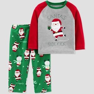 1a8de04baa54 Details about Carter s Just One You Baby Boys Santa s Sidekick Fleece  Pajama Set 18m NWT