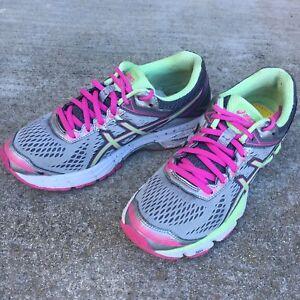 Details about ASICS GEL GT 1000 4 Women Sz 6.5 Gray Pink Green Duo Max Training Running Shoe