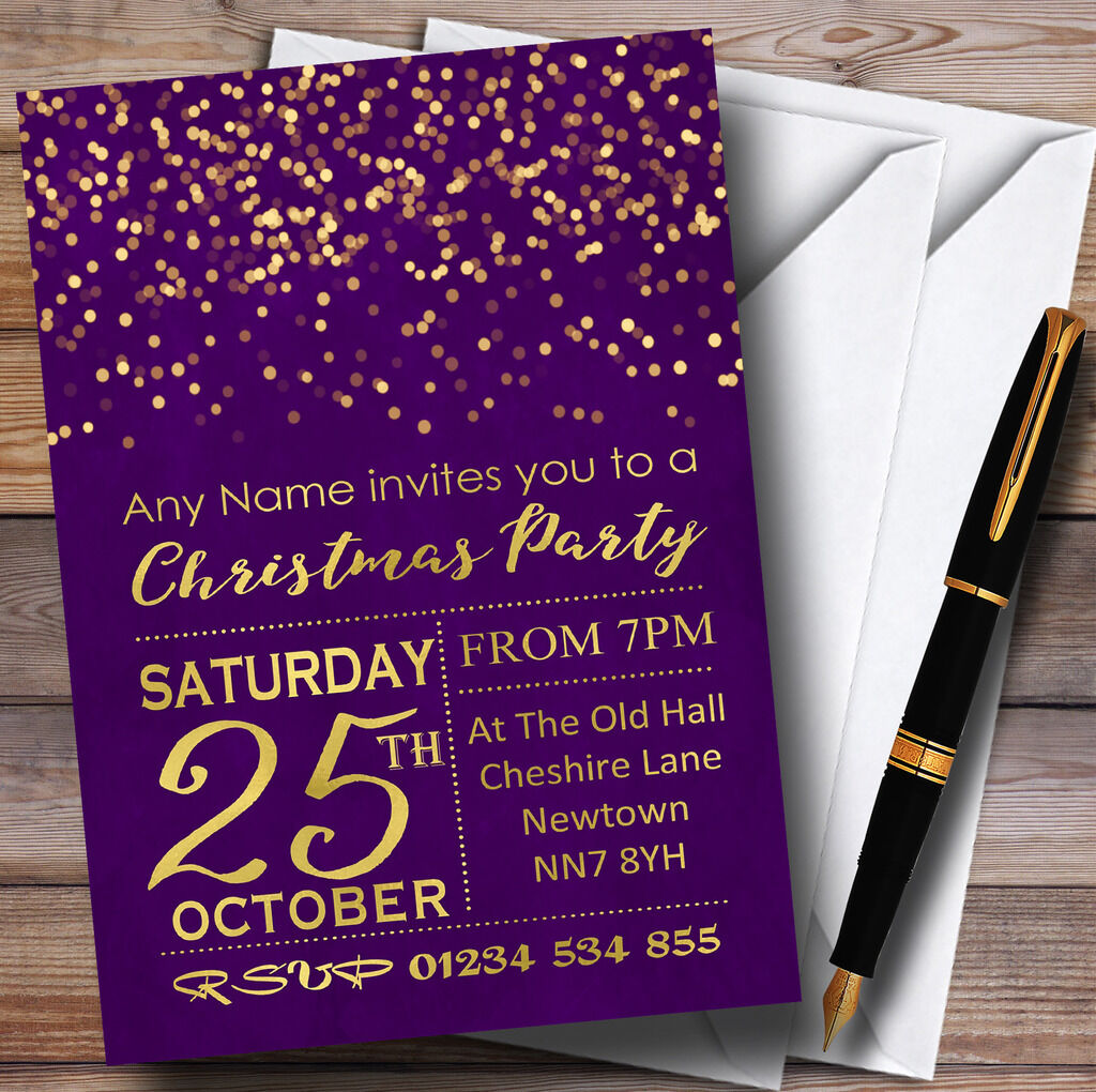 lila With Gold Gold Gold Confetti Personalised Christmas Party Invitations 96d11c