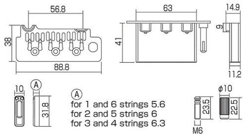 Gotoh Wilkinson VS100 Tremolo Trem honed satin chrom Bolzenbreite 56,8 mm