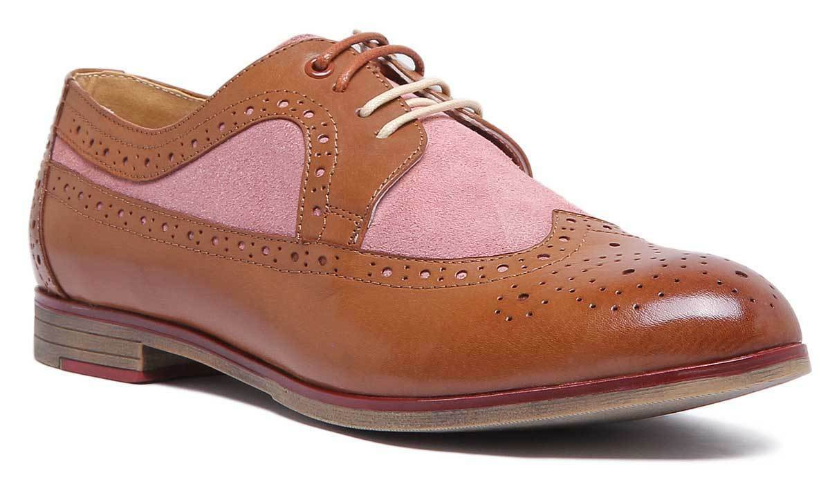 Justin Reece Womens Lace up Brown Pink Casual Leather Brogue Size UK 3 - 8
