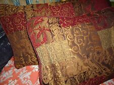 CROSCILL GALLERIA PATCHWORK RED BROWN TUSCAN (PAIR) KING PILLOW SHAMS 21 X 37