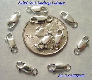 10 Fancy Sterling Silver Lobster Clasps w Ring 11MM