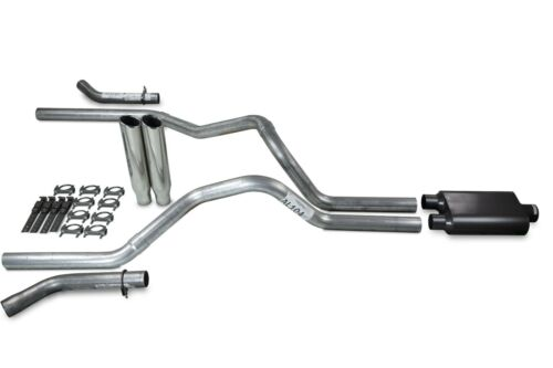 """Ford F-150 98-03 2.5/"""" Dual Exhaust Kits 2 Chamber Clamp on Tips Corner Exit"""