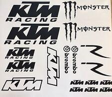 KTM Aufkleber 18 St. Set Tuning Sticker Motorrad Aufkleber Bike Monster Brembo