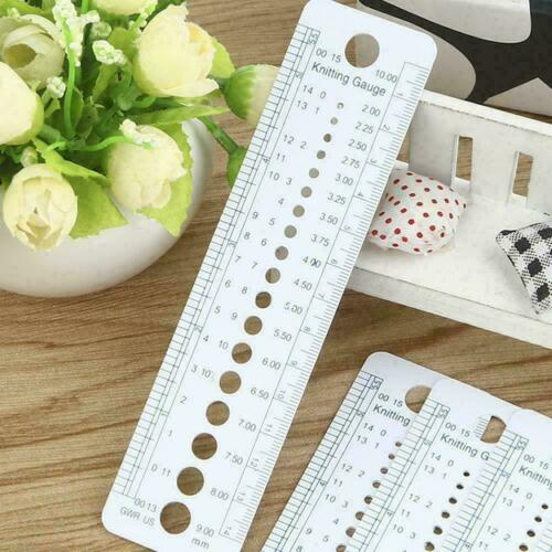 Plastic Knitting Knit Needle Size Gauge Ruler Measure Tools B7I5 Sewing To S7X7