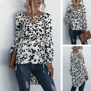 UK-Womens-Lace-Up-V-Neck-Tops-Ladies-Long-Sleeve-Pullover-Shirt-Blouse-Plus-Size