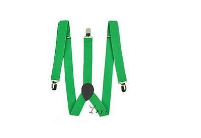 Mens Bright Green Adjustable Braces Suspenders Wedding