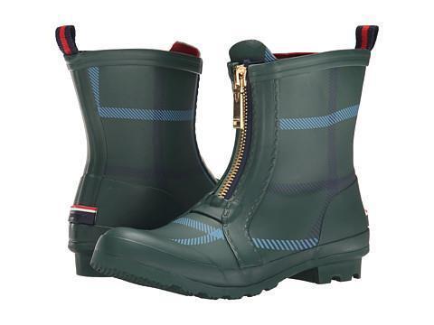 Tommy Hilfiger RYANN 2 Green Plaid Rubber Mid Calf Stiefel Rainboots WMs 8 NWOT