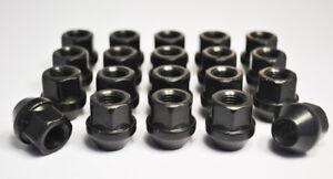 20-x-Ford-M12-X-1-5-Rueda-De-Aleacion-Abierto-Tuercas-Hexagonales-de-19mm-Negro