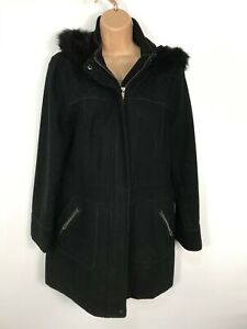 WOMENS-GEORGE-ASDA-BLACK-ZIP-UP-WINTER-OVERCOAT-JACKET-WITH-HOOD-SIZE-UK-14