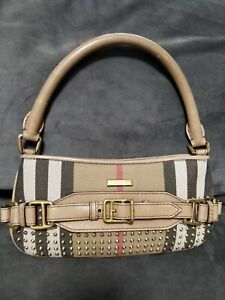Burberry Prorsum Studded House Check Sling Shoulder Baguette Evening Hobo Bag