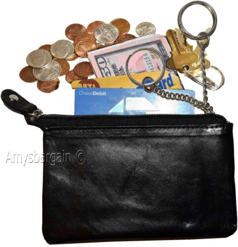 Ladies Wallet Black mini pocket zip coin case BN Lot of 4 Leather Change Purse