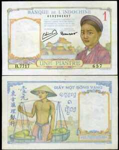 FRENCH-INDO-CHINA-1-PIASTRE-P-54-C-AUNC-ABOUT-UNC