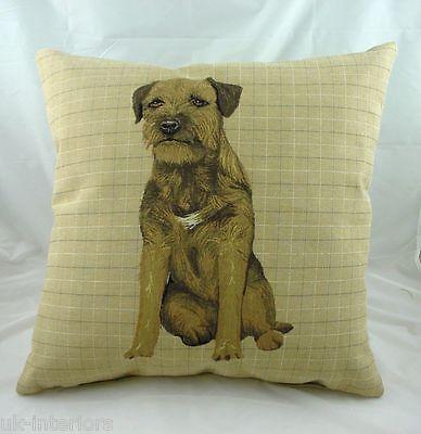 "18/"" Border Terrier Puppy Dog Belgian Tapestry Cushion LB037"