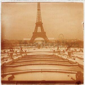 Paris Sous La Neige Tour Eiffel Plaque De Verre Stereo Positif 1909 Ebay