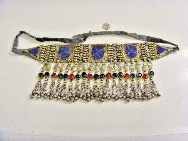 vintage kuchi tribal full lapis lazuli collar choker belly dance renn fest 47020
