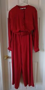 Ii a vita Camicetta rossa Vtg pezzi 2 pieghe alta pantaloni Anne Klein cintura con tasche EqEt8z