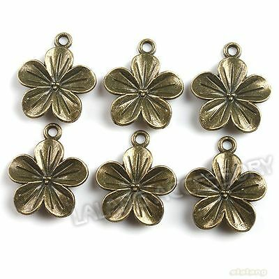 40x New Ancient Bronze Charms Flower Pendants 140745