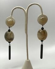 Gorgeous Angela Caputi Italian Designer Gold Swirl & Black Resin Earrings