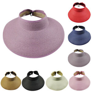 Moda-para-Mujeres-Ninas-Verano-Paja-Sun-Visor-Plegable-Con-Tapa-De-Sol-lindo-Bowtie-Sombrero