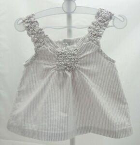c298d0b01ebb3 Petit Kimbaloo haut à bretelles larges blanc rayé mauve argenté bébé ...
