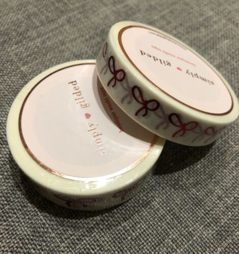NEW Simply Gilded /& OMWL Once More with Love Collab washi tape white w// red bows