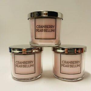 3-Bath-amp-Body-Works-Cranberry-Pear-Bellini-Medium-Scented-Candles-4-oz-New