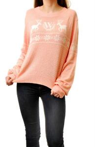 Wildfox-Frauen-White-Label-weichen-Strickpullover-Baggy-Pullover-weichen-rosa-Gr