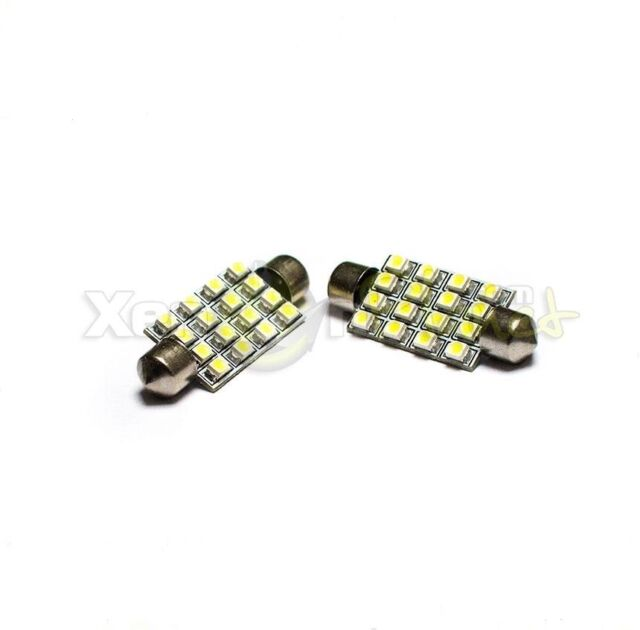 2x 42-44mm WHITE 16 SMD LED INTERIOR LIGHT BULBS VAUXHALL CORSA B C D FRONTERA