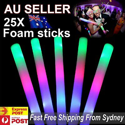 Party UP 10//50X LED Foam Sticks RGB Thunder Wand Glow Sticks Flashing Light Rave