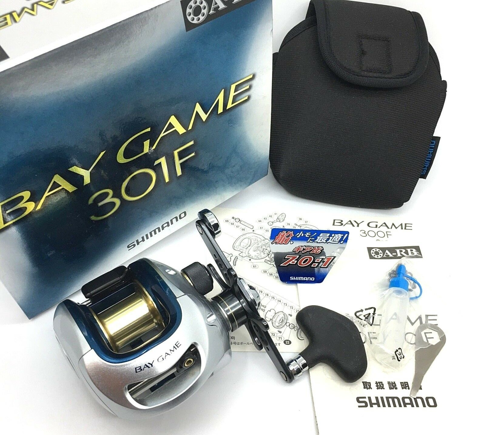 Shimano BAY GAME 301F Left Handed Bait Casting Reel with Case NEW  From JAPAN