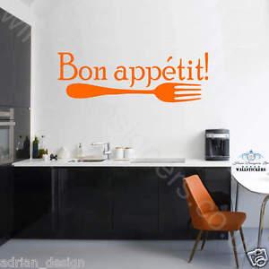 Bon Appetit Autocollant Mural Vinyle Mur Art Cuisine